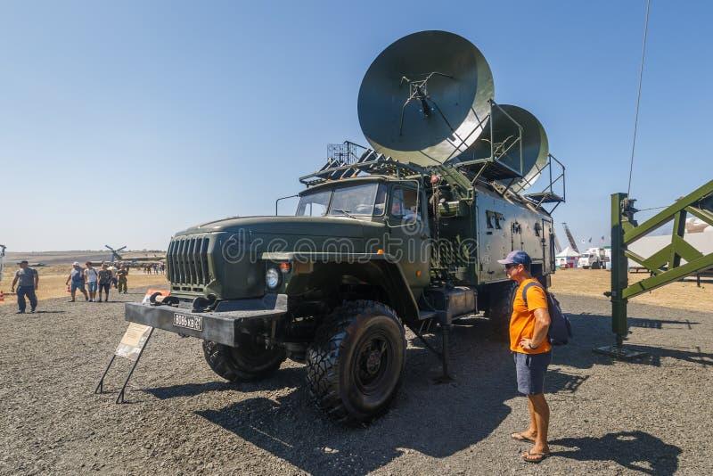 Satellite mobile station R-441-U on base truck Ural-43203 stock photo