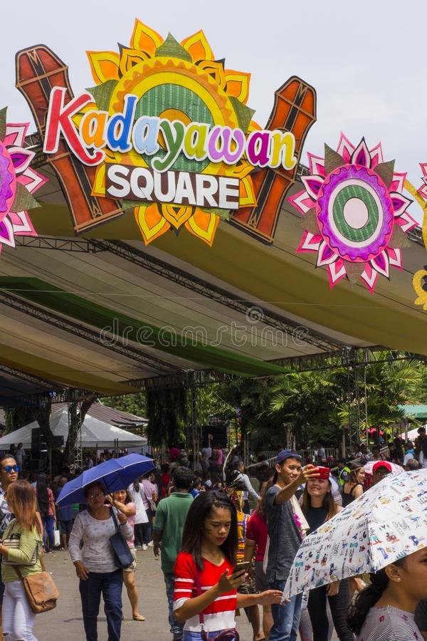 Kadayawan Square, a place of perfoemance for the Indak-Indak Competition during the Kadayawan Festival 2018. Davao, Philippines - August 18, 2018: Kadayawan royalty free stock photography