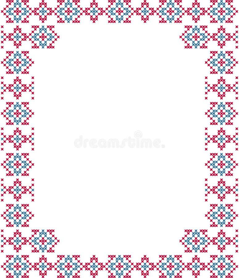 Kader, blauwe, roze patronen op canvas royalty-vrije stock foto