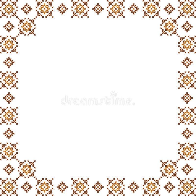 Kader, bruine patronen op canvas stock afbeeldingen