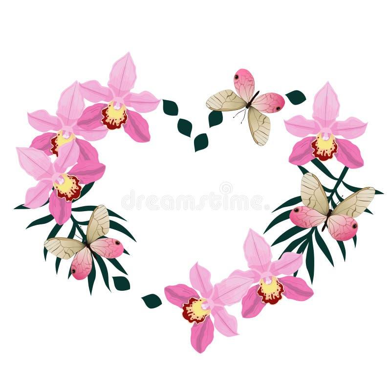 Kader in de vorm van een hart van orchideeën en roze vlinders Ge?soleerdj op witte achtergrond Vector beeld vector illustratie