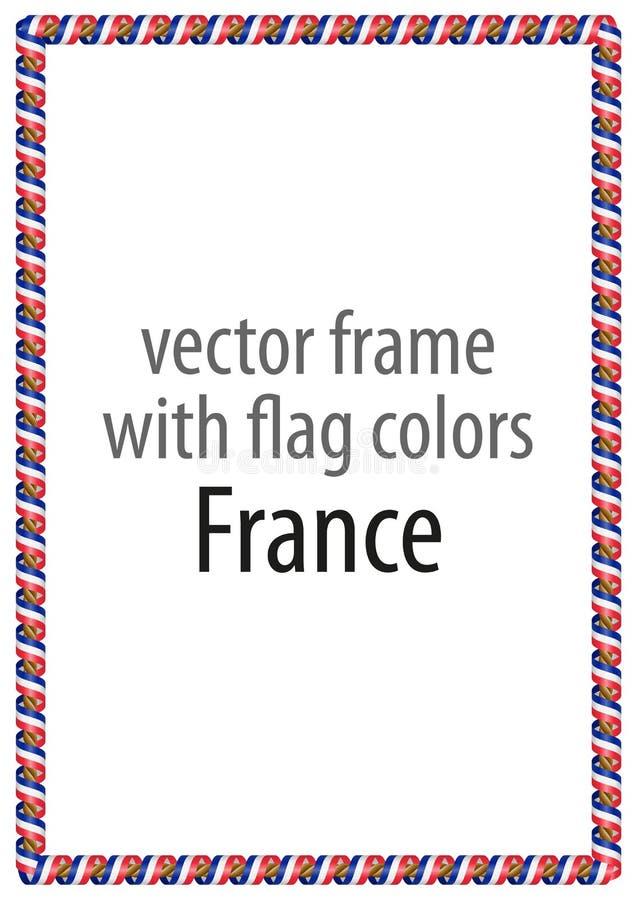 Kader en grens van lint met de kleuren van de vlag van Frankrijk vector illustratie