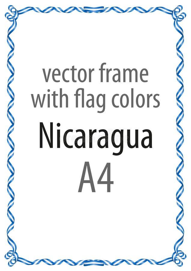 Kader en grens van lint met de kleuren van de vlag van Nicaragua stock illustratie