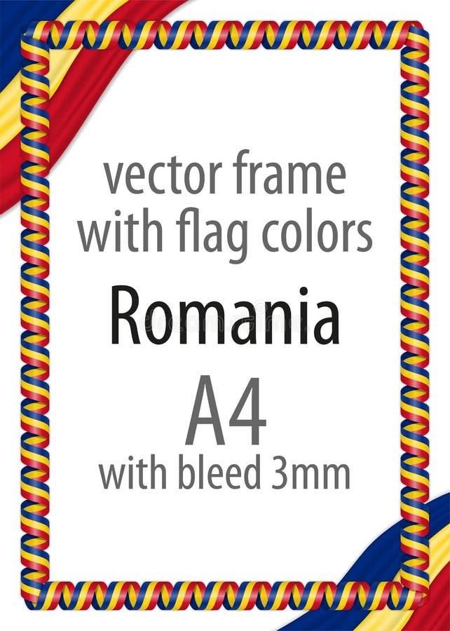 Kader en grens van lint met de kleuren van de vlag van Roemenië stock illustratie