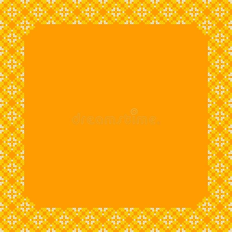 Kader, gele en oranje patronen op canvas stock afbeeldingen