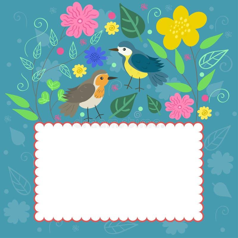 Kader in krabbelstijl met vogels en installaties Vector grafiek stock illustratie