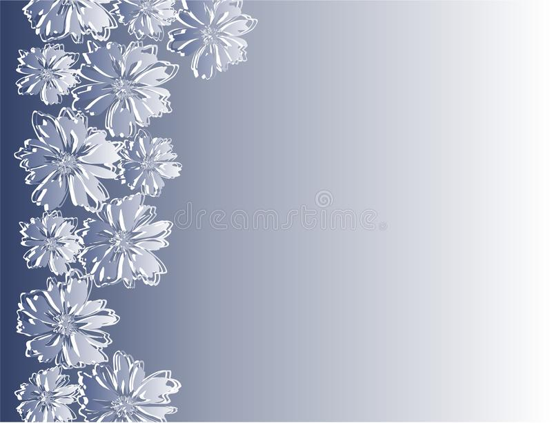 Kader met abstracte bloemen op blauwe achtergrond royalty-vrije stock foto's
