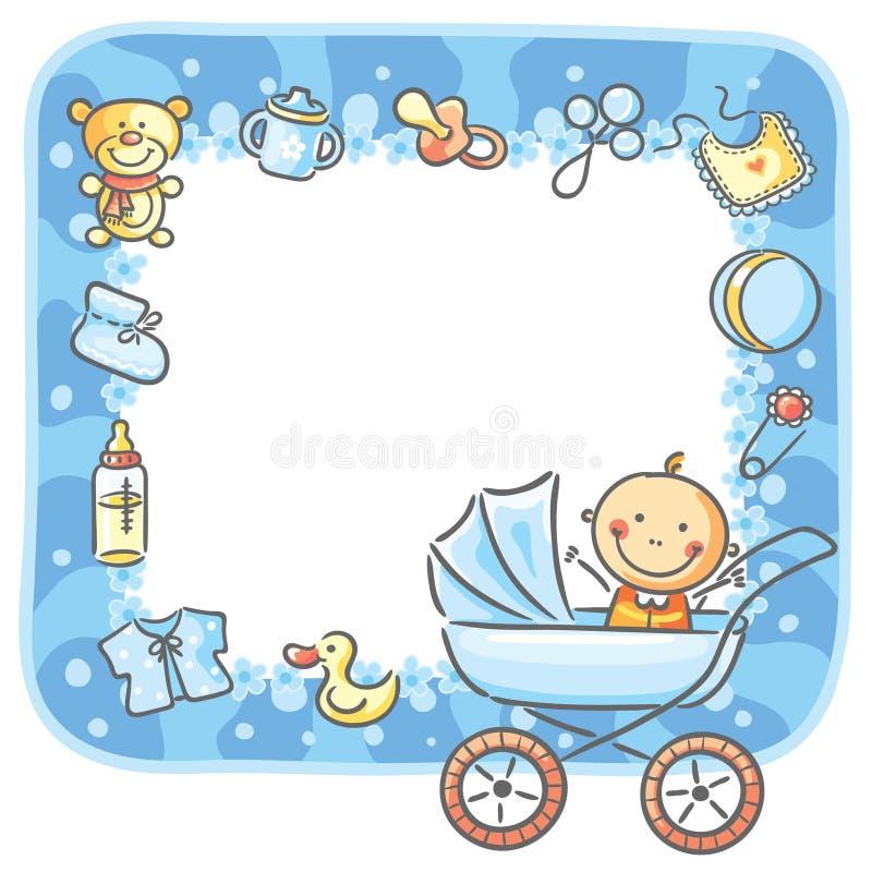 Kader met baby-jongen dingen vector illustratie