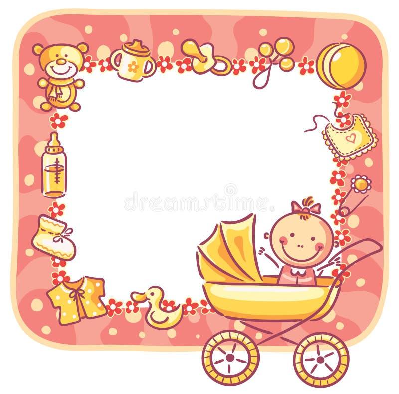 Kader met baby-meisje dingen stock illustratie