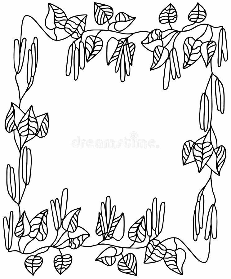 Kader met berktakjes en oorringen, vierkante vorm stock foto