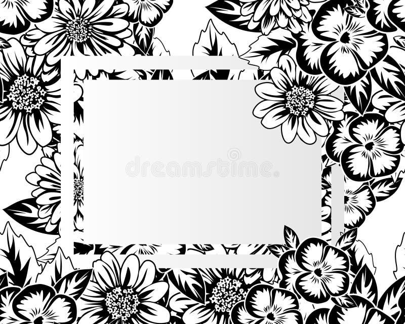 Download Kader met bloemen vector illustratie. Illustratie bestaande uit zwart - 107704540