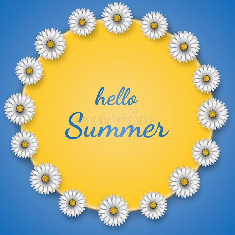 Kader met de bloemen van de madeliefjesontwerp en tekst zomer van Hello op blauwe achtergrond Vector illustratie vector illustratie