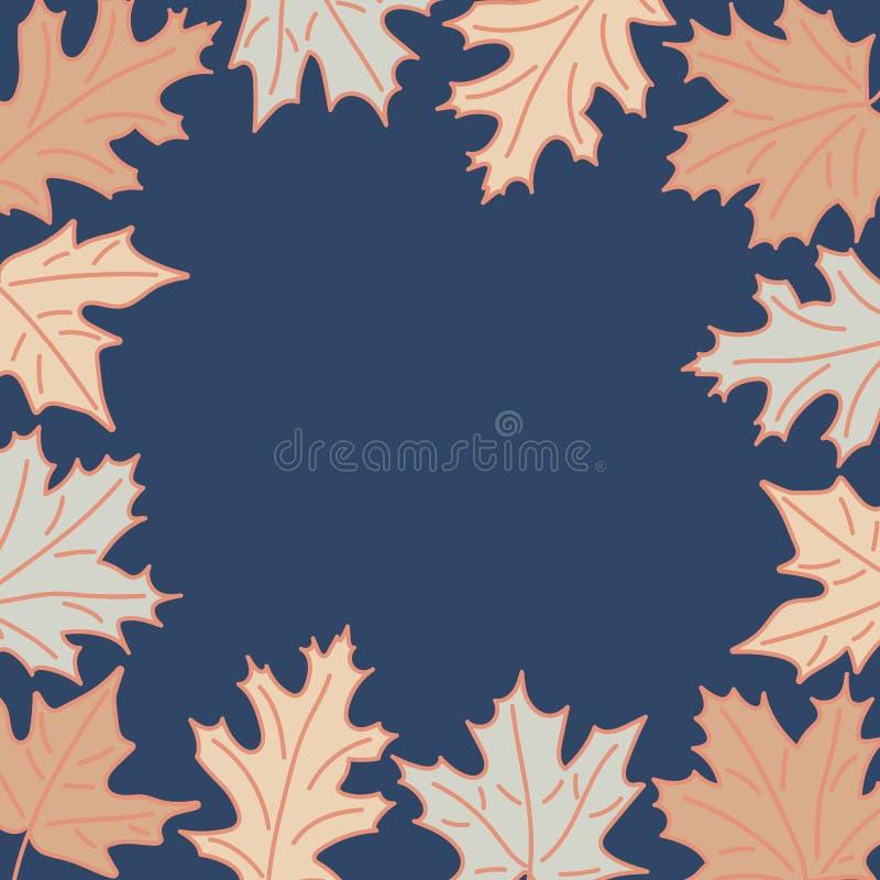 Kader met de pastelkleuren van de herfstbladeren Hand getrokken de esdoornbladeren van de lijnstijl op donkerblauwe achtergrond royalty-vrije illustratie