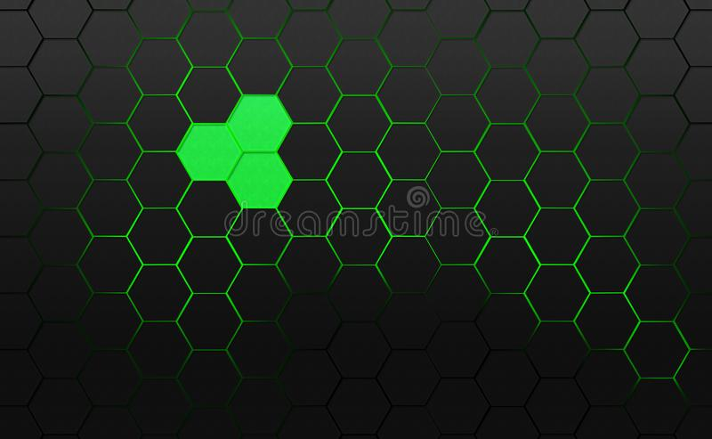 Kader met donkergrijze zeshoeken wordt gevuld die royalty-vrije illustratie