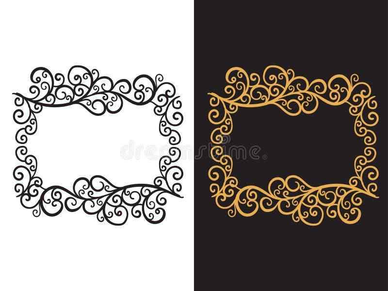 Kader met een hand getrokken patroon van krullen VectordieIllustratie op achtergrond wordt geïsoleerd vector illustratie