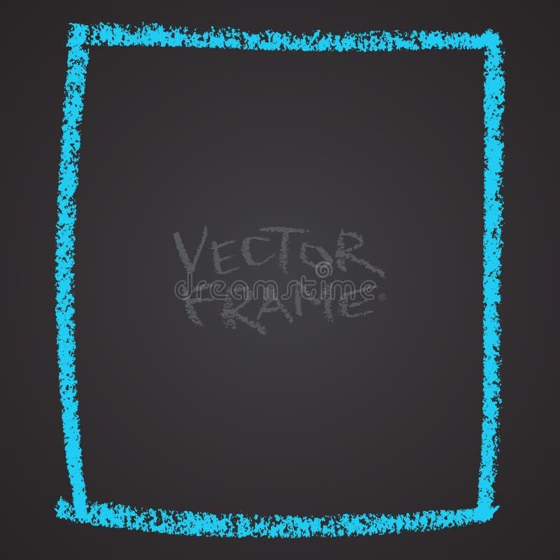 Kader met een kleurpotlood wordt getrokken dat De lege vorm van het waskleurpotlood Vectorbeeld van hand getrokken slagkader Blau royalty-vrije illustratie