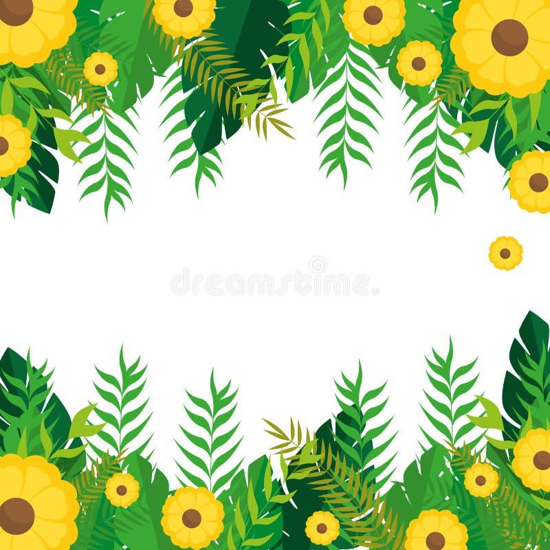 Kader met gele bloemen en het groene ontwerp van de bladerenaard royalty-vrije illustratie