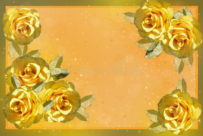 Kader met gele rozen stock illustratie