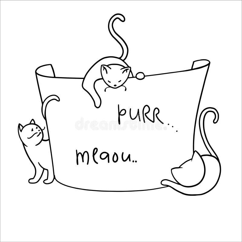 Kader met grappige beeldverhaalkatten vector illustratie