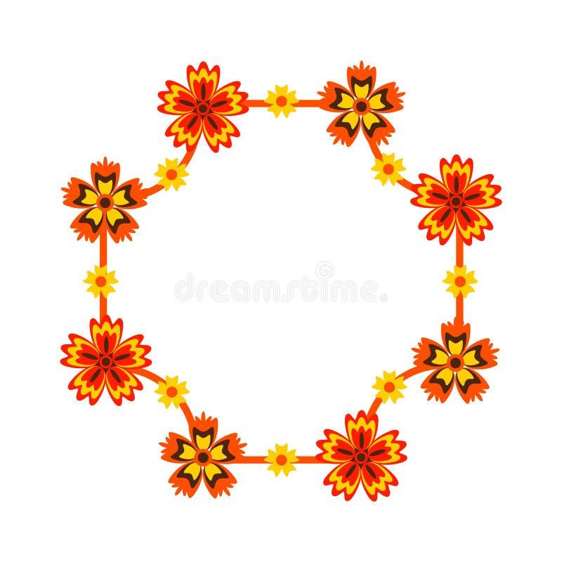 Kader met heldere bloemen wordt verfraaid die royalty-vrije stock afbeeldingen