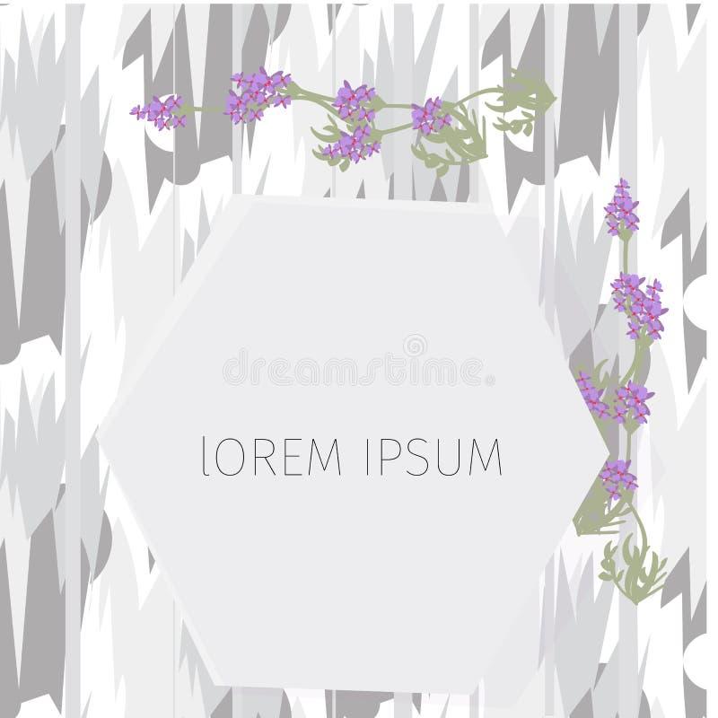 Kader met lege plaats voor tekst of beeld Het wit kleurde binnenland, met lavendel omhoog bloemen, Spot royalty-vrije illustratie