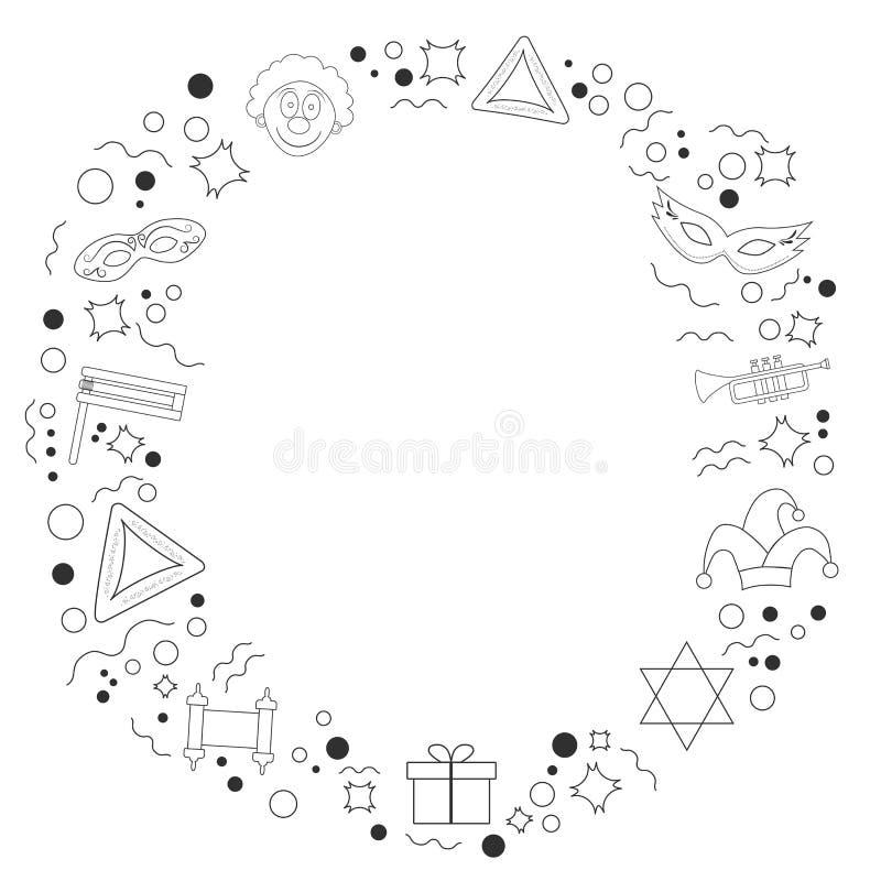 Kader met pictogrammen van de het ontwerp zwarte dunne lijn van de purimvakantie de vlakke vector illustratie