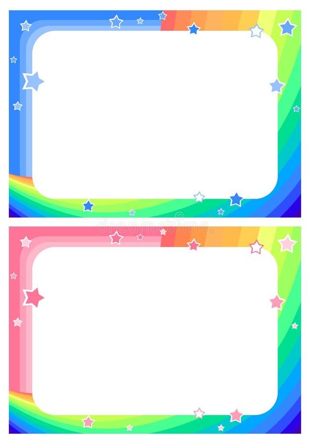 Kader met regenboog, hemel en sterren op de achtergrond van de beeldverhaalstijl voor kinderen ` s stock illustratie