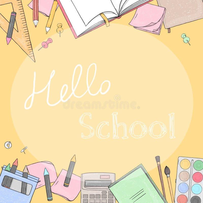 Kader met schoolkantoorbehoeften Hand-drawn vector illustratie