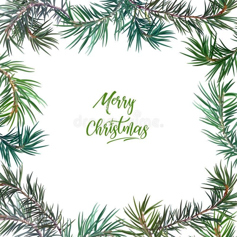 Kader met spar Vrolijke Kerstmis stock illustratie