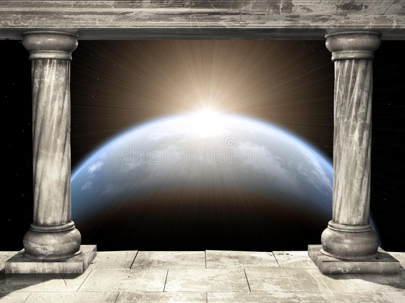 Kader met twee middeleeuwse kolommen en ruimtescène met planeet stock illustratie