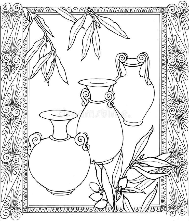 Kader met vazen B&W vector illustratie