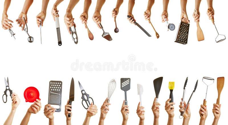 Kader met veel keukengereedschap stock fotografie