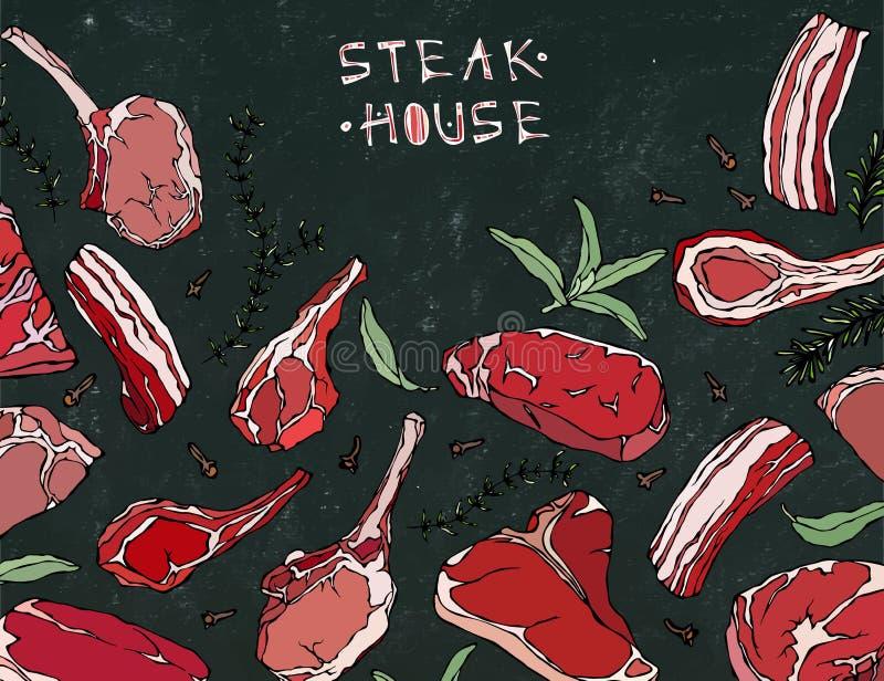 Kader met Vleeswaren Restaurantmenu of Slager Shop Template Rundvleeslapje vlees, Lam, Varkensvleesrib Vector illustratie royalty-vrije illustratie