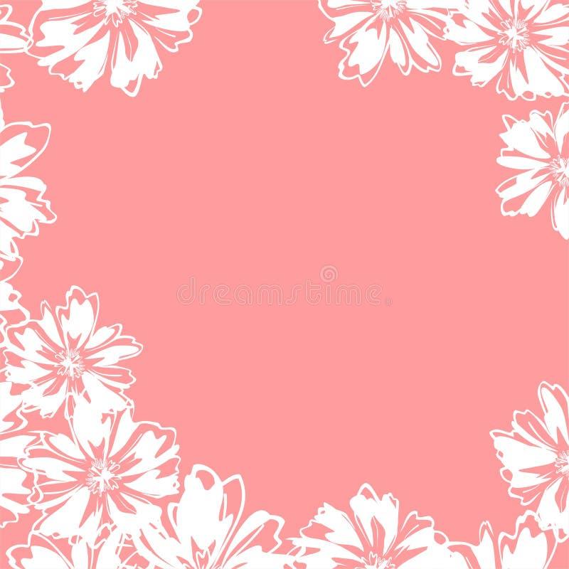 Kader met witte abstracte bloemen royalty-vrije stock fotografie