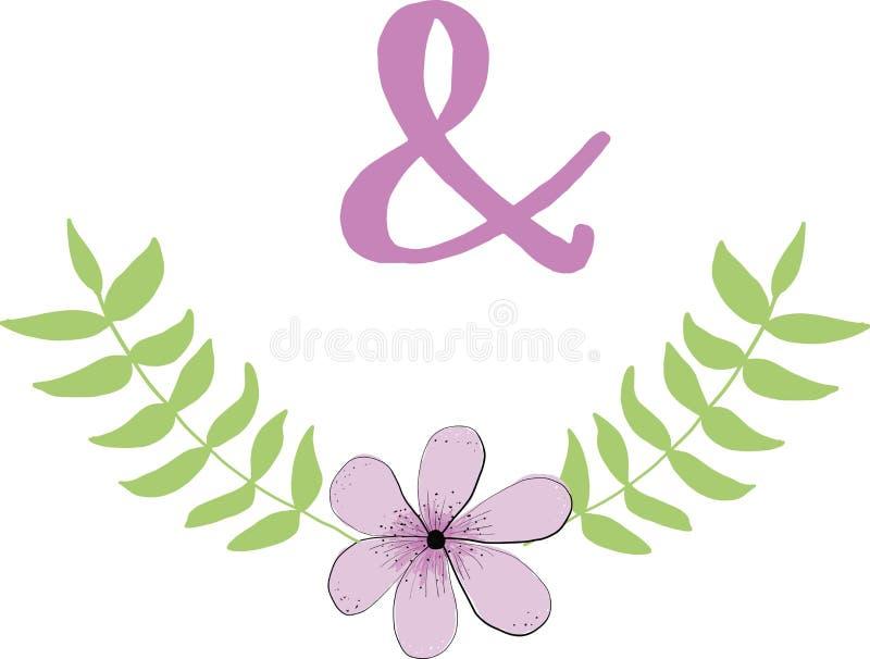 Kader van bladeren en wilde bloem en ampersand op witte achtergrond Vectorillustratie voor ontwerp van affiches, kaarten vector illustratie