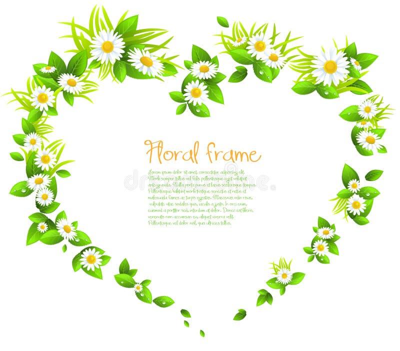 Kader van bloemen in de vorm van een hart royalty-vrije illustratie