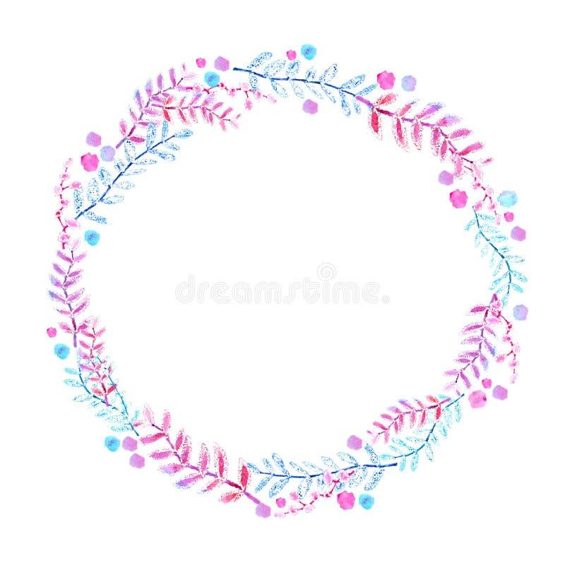 Kader van bloemen en takjes Waterverftekening, een patroon van bladeren, op een witte achtergrond voor het ontwerp van uitnodigin royalty-vrije illustratie