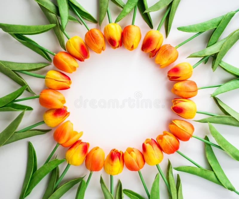 Kader van bloemen met exemplaarruimte over wit royalty-vrije stock afbeeldingen