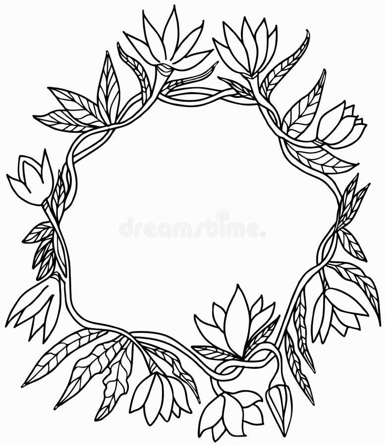 Kader van bloemen, stammen en bladeren, een ronde gebogen vorm stock foto's