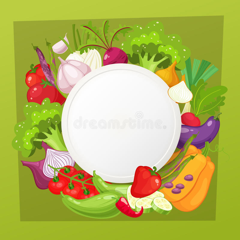 Kader van de groenten het hoogste mening Het menuontwerp van de landbouwersmarkt Natuurvoedingaffiche Uitstekende hand getrokken  stock illustratie