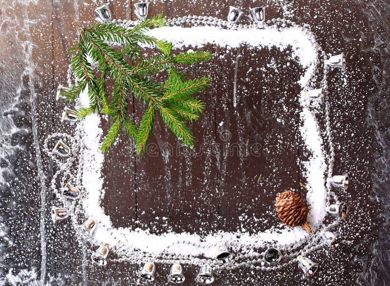 Kader van de sneeuw met Kerstmis stock afbeeldingen