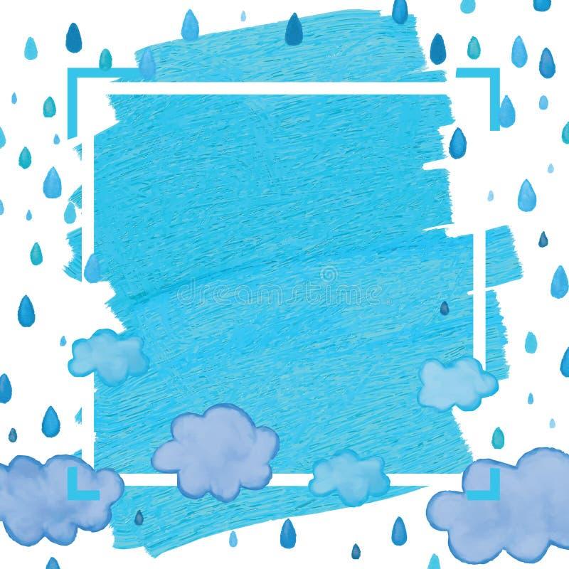 Kader van de wolken het blauwe daling royalty-vrije illustratie