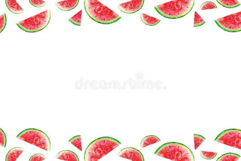 Kader van geïsoleerd watermeloenplakken in waterverf vector illustratie