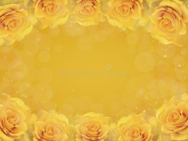 Kader van gele rozen stock illustratie