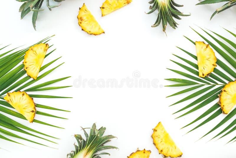 Kader van gesneden ananas en palmbladen op witte achtergrond Vlak leg, hoogste mening stock fotografie