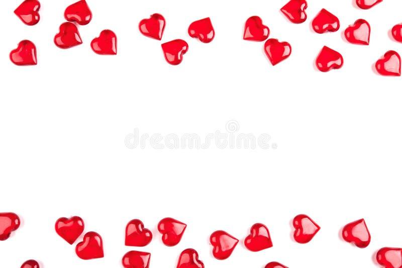 Kader van harten wordt, op witte achtergrond worden geïsoleerd gemaakt die stock afbeelding