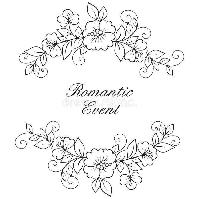 Kader van het bloem het vectorornament royalty-vrije illustratie