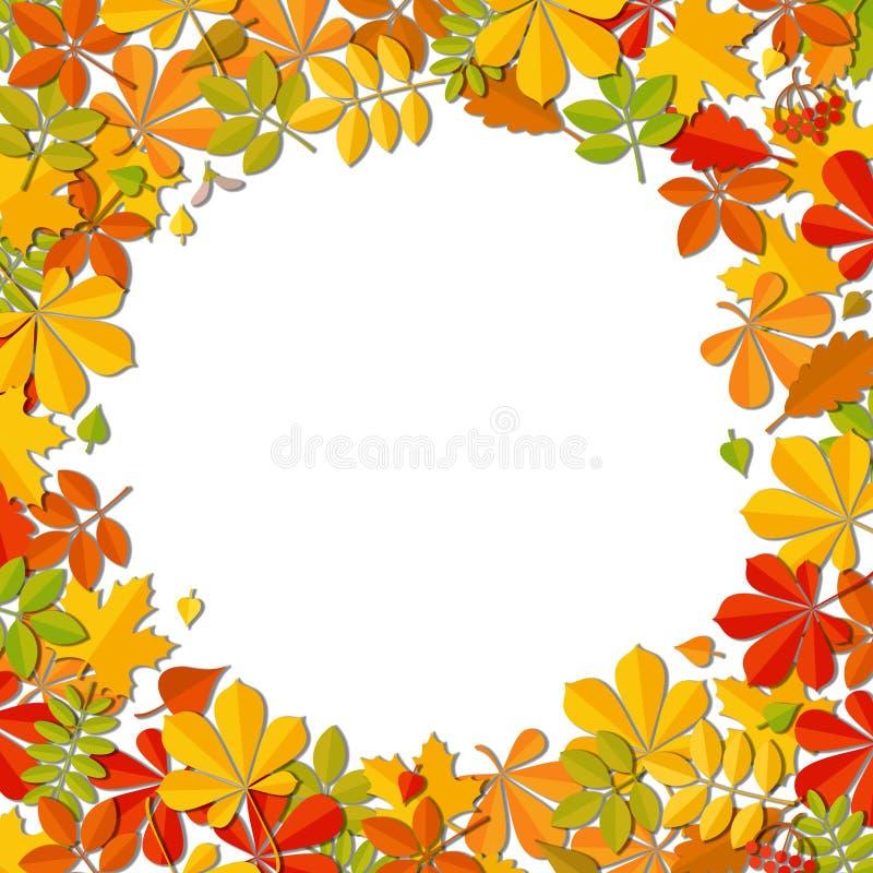 Kader van het de herfst het dalende die blad op witte achtergrond wordt geïsoleerd stock illustratie