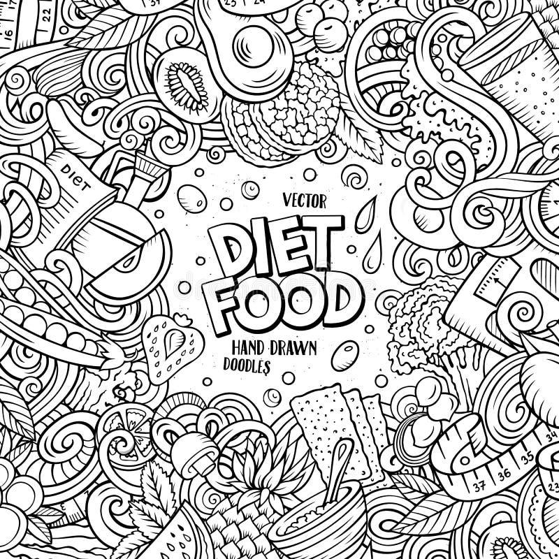 Kader van het het dieetvoedsel van beeldverhaal het vectorkrabbels De dieet grappige grens van de lijnkunst royalty-vrije illustratie