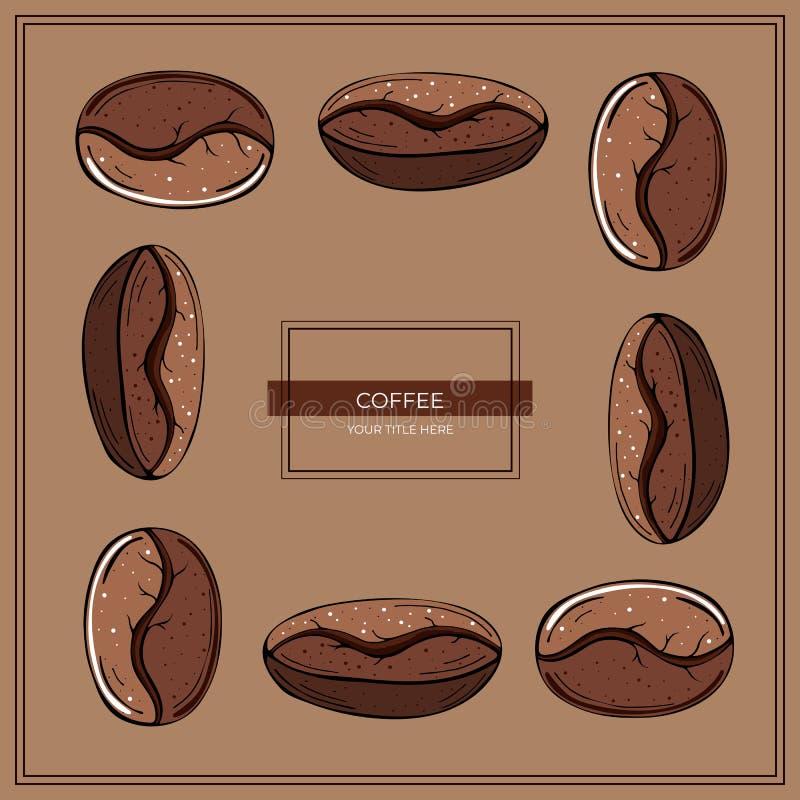 Kader van het geroosterde close-up van koffiebonen op een bruine achtergrond stock illustratie